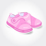 Realistic pink baby shoes for a girl Royalty Free Stock Images