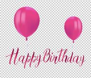Realistic Pink Balloons With Reflects And Inscription HAPPY BIRTHDAY On Transparent Background. Festive Decor Element For Birthday Royalty Free Stock Photo