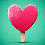 Realistic pink chocolate heart shaped ice cream Stock Photos