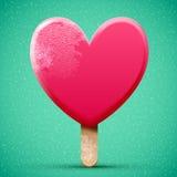 Realistic pink chocolate heart shaped ice cream Stock Photos