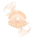 Realistic pink pearl in the shell. Realistic natural large bright pearl in the shell open with vintage floral ornament. Clip on a white background Stock Photography