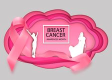 Realistic pink ribbon, breast cancer awareness symbol, vector illustration vector illustration
