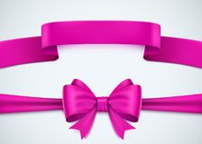 Realistic pink ribbon set on white background. Stock Image