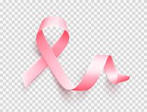 Realistic pink ribbon. Symbol of breast cancer awareness month in october. Realistic pink ribbon isolated over transparent background. Symbol of breast cancer vector illustration