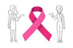 Realistic pink ribbon and Women, breast cancer awareness symbol, Royalty Free Stock Photography
