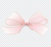 Realistic pink transparent bow with gold border. Realistic illustration in vector. 3D pink transparent bow with gold border. Isolated on a transparent background Stock Photos