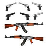 Realistic pistols, revolvers and Kalashnikov machine gun Stock Images