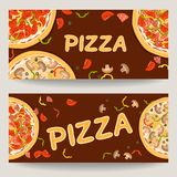 Two banners with advertising of Italian pizza vector illustration