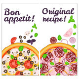 Realistic Pizza Pizzeria flyer vector background. Two vertical Pizza banners with ingredients and text on white backdrop Stock Photos