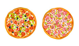 Realistic  Pizza Set Stock Images