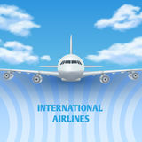Realistic plane, aircraft, airplane in sky with white clouds vector travel background, promo poster royalty free illustration
