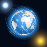 Realistic planet Earth, moon, sun and stars. Stock Photography