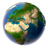 Realistic Planet Earth with natural Stock Photo