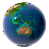 Realistic Planet Earth with natural. Earth with translucent water in the oceans and the detailed topography of the continents stock images