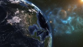 Realistic Planet Earth from space. On the planet Earth, there is a change of day and night. Colorful milky way animation. Elements vector illustration