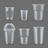 Realistic plastic cups mockup set vector illustration. Realistic plastic cups mockup set. Containers to hold beverages empty with copyspace for text or logo vector illustration