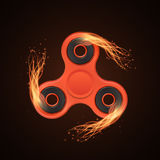 Realistic plastic red spinner in the fire. Fiery speed. Stress relieving toy. Modern toy for fingers. Vector Stock Image