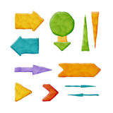 Realistic Plasticine Arrows. Set of Vector Realistic Plasticine Arrows Isolated on White Background Stock Images