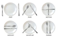 Realistic plates tableware restaurant etiquette. a set of realistic plates and cutlery in the form of etiquette signs vector illustration