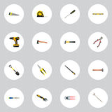 Realistic Plumb Ruler, Spanner, Hatchet And Other Vector Elements. Set Of Tools Realistic Symbols Also Includes Emery. Realistic Plumb Ruler, Spanner, Hatchet Royalty Free Stock Photography