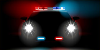 Realistic police car front view Stock Photo