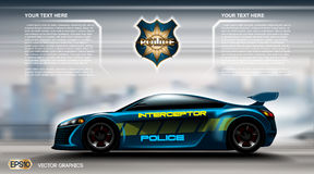 Realistic Police car futuristic concept Infographic. Urban city background. Online Cab Mobile App, Cab Booking, Map Stock Image