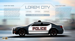 Realistic Police car Infographic. Urban city background. Online Cab Mobile App, Cab Booking, Map Navigation e-commerce Stock Image