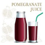 Realistic pomegranate juice in a jar and a glass with a straw Royalty Free Stock Photography