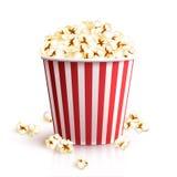Realistic Popcorn Bucket. Realistic cinema red cardboard striped popcorn snack bucket vector illustration Stock Image