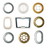 Realistic Portholes Set Royalty Free Stock Photo