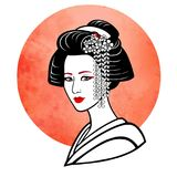 Realistic portrait of the young Japanese girl an ancient hairstyle. Geisha, maiko, princess. Stock Photos