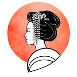 Realistic portrait of the young Japanese girl an ancient hairstyle. Geisha, maiko, princess. Stock Image