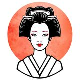 Realistic portrait of the young Japanese girl an ancient hairstyle. Geisha, maiko, princess. Stock Photography