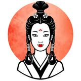 Realistic portrait of the young Japanese girl an ancient hairstyle. Geisha, maiko, princess. Background - the red watercolor sun. Print, poster, t-shirt, card vector illustration