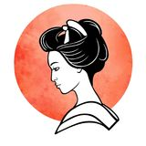 Realistic portrait of the young Japanese girl an ancient hairstyle. Geisha, maiko, princess. Royalty Free Stock Photos