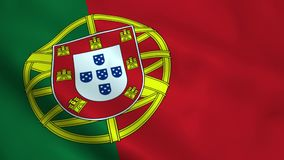 Realistic Portugal flag. Waving in the wind Stock Photos
