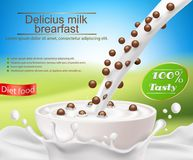 Realistic poster with a milk splash and milk pouring into a cup with a cereal breakfast, chocolate cereal balls. Realistic poster with a milk splash and milk Royalty Free Stock Images