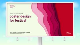 Realistic poster with multi layers design for festival on billboard. Abstract pattern with paper cut design. Summer sky Stock Photography