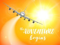 Realistic poster white Airplane flying in the sky with yellow bottom abstract background vector illustration. Realistic poster white Airplane flying in the sky Royalty Free Stock Image
