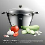 Realistic Pot And Vegetables Set Stock Photo