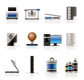 Realistic Print Industry Icons Royalty Free Stock Photography