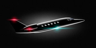 Realistic private jet business class aircraft in the dark Flies Stock Photography