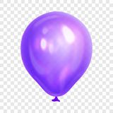 Realistic purple balloon, isolated on transparent background. Stock Photos