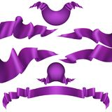 Realistic purple decorative ribbon. EPS 10 vector. Realistic purple decorative ribbon, banners, stripe set isolated on white. And also includes EPS 10 vector vector illustration