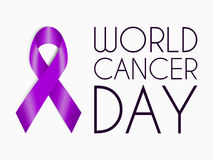 Realistic purple ribbon, world cancer day symbol, sign of support. February 4 banner with plum tape concept. Vector illustration for website, header, flyer royalty free illustration