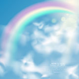 Realistic rainbow. And clouds. An arch from a rainbow in the sky. Summer time. Abstract background. Vector illustration Royalty Free Stock Photos
