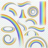 Realistic rainbow. Rainbows arch joyful summer spring iridescent lights rain and sun effect isolated vector set stock illustration