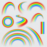 Realistic rainbows in different shape. Vector illustration Stock Photo