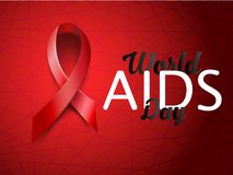 Realistic red AIDS ribbon. World AIDS day concept on red background with light effect. Vector illustration. Realistic red AIDS ribbon. World AIDS day concept on Stock Photography