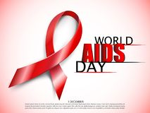 Realistic red AIDS ribbon. World AIDS day concept on red background with light effect. Vector illustration. Realistic red AIDS ribbon. World AIDS day concept on Royalty Free Stock Photography